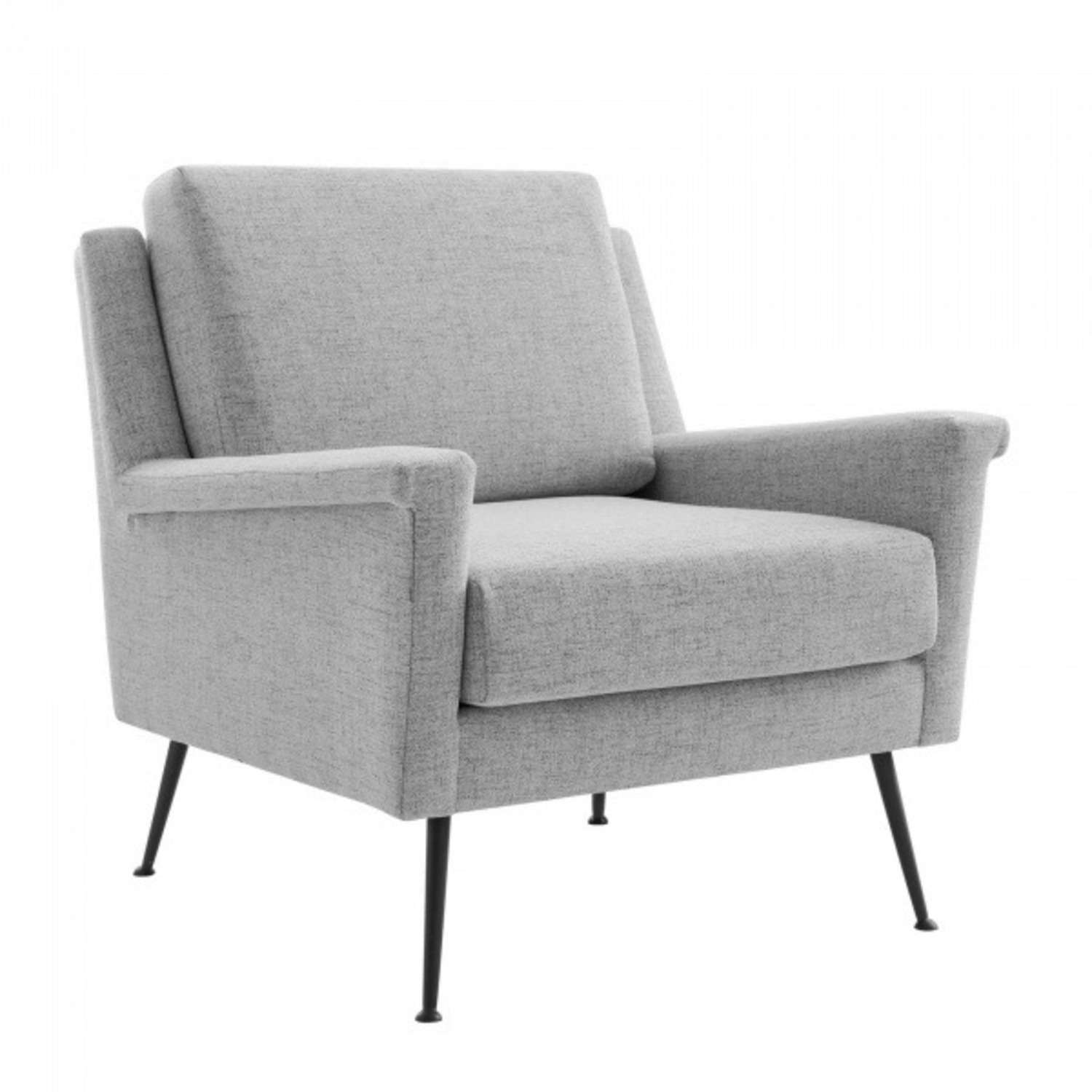 Modern Accent Armchair In Light Gray Fabric - image-1
