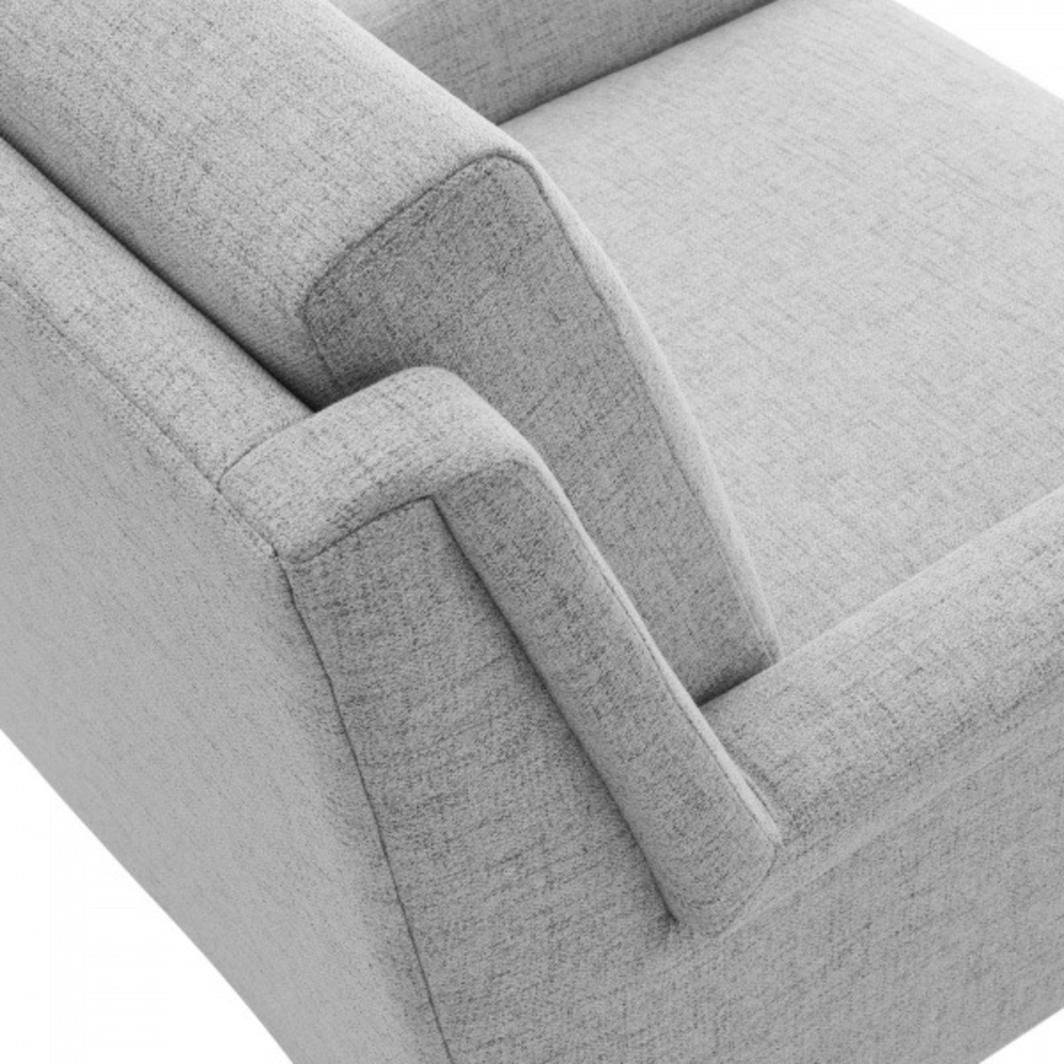 Modern Accent Armchair In Light Gray Fabric - image-4