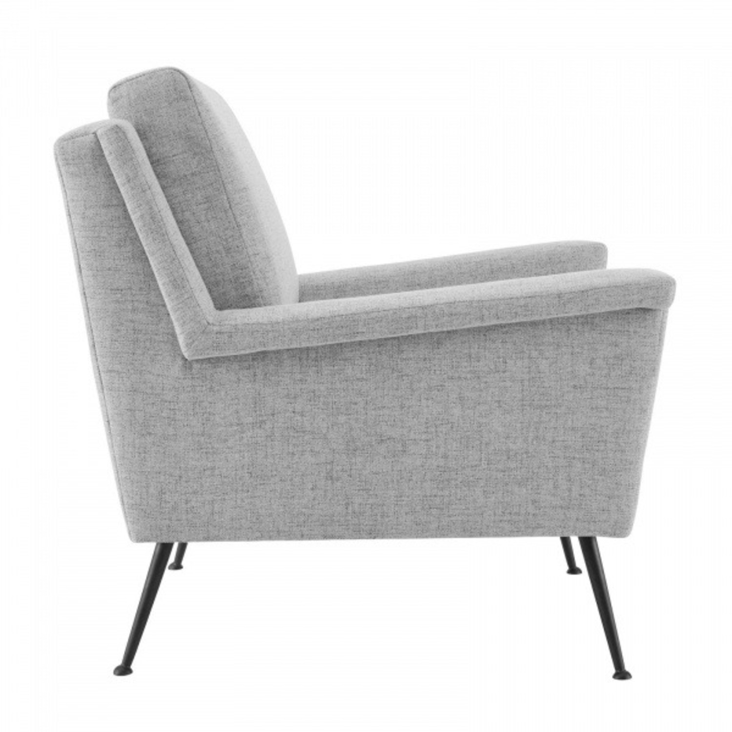 Modern Accent Armchair In Light Gray Fabric - image-3