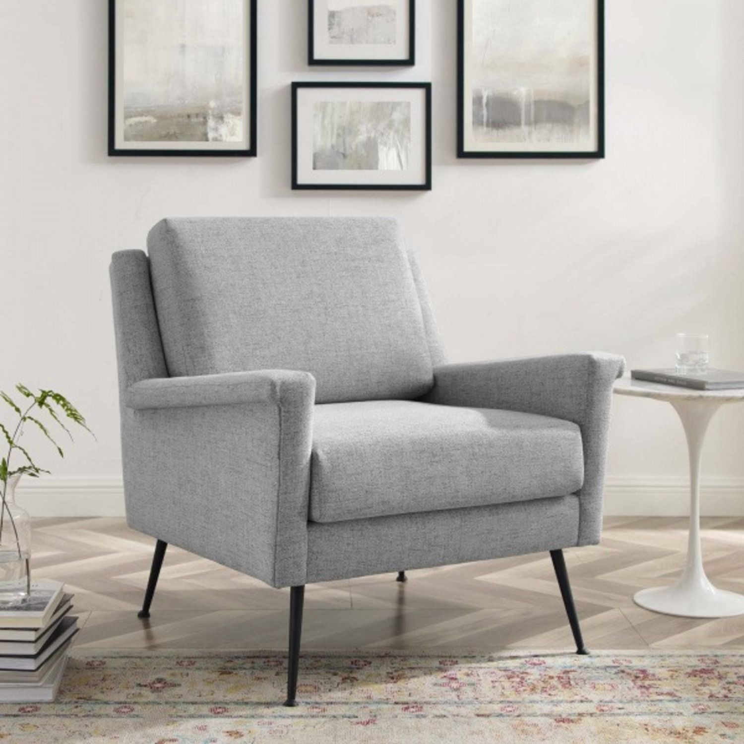 Modern Accent Armchair In Light Gray Fabric - image-7
