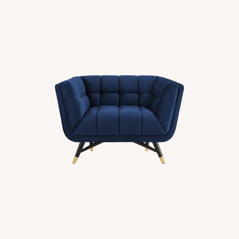 Mid-Century Style Armchair In Midnight Blue Velvet - image-5
