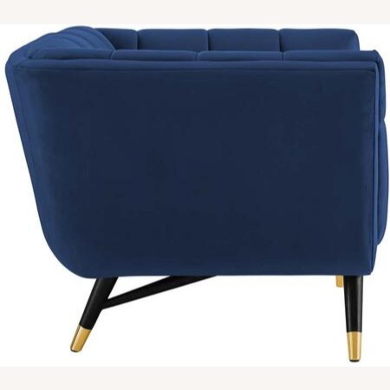 Mid-Century Style Armchair In Midnight Blue Velvet - image-3