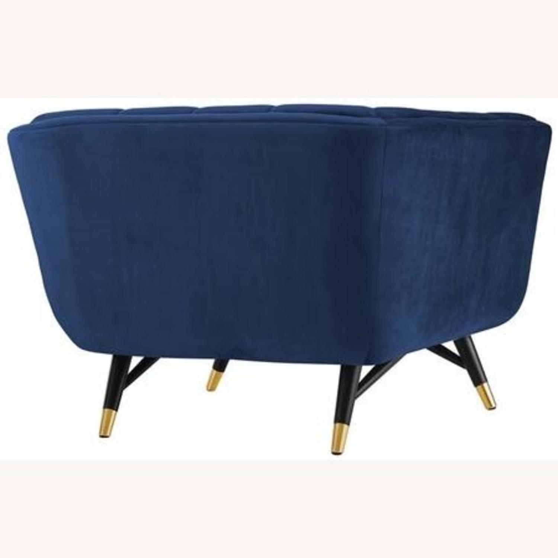 Mid-Century Style Armchair In Midnight Blue Velvet - image-2