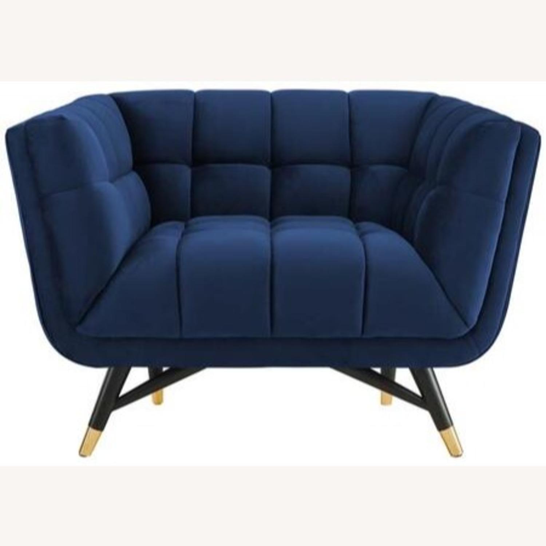 Mid-Century Style Armchair In Midnight Blue Velvet - image-0