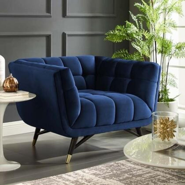 Mid-Century Style Armchair In Midnight Blue Velvet - image-4