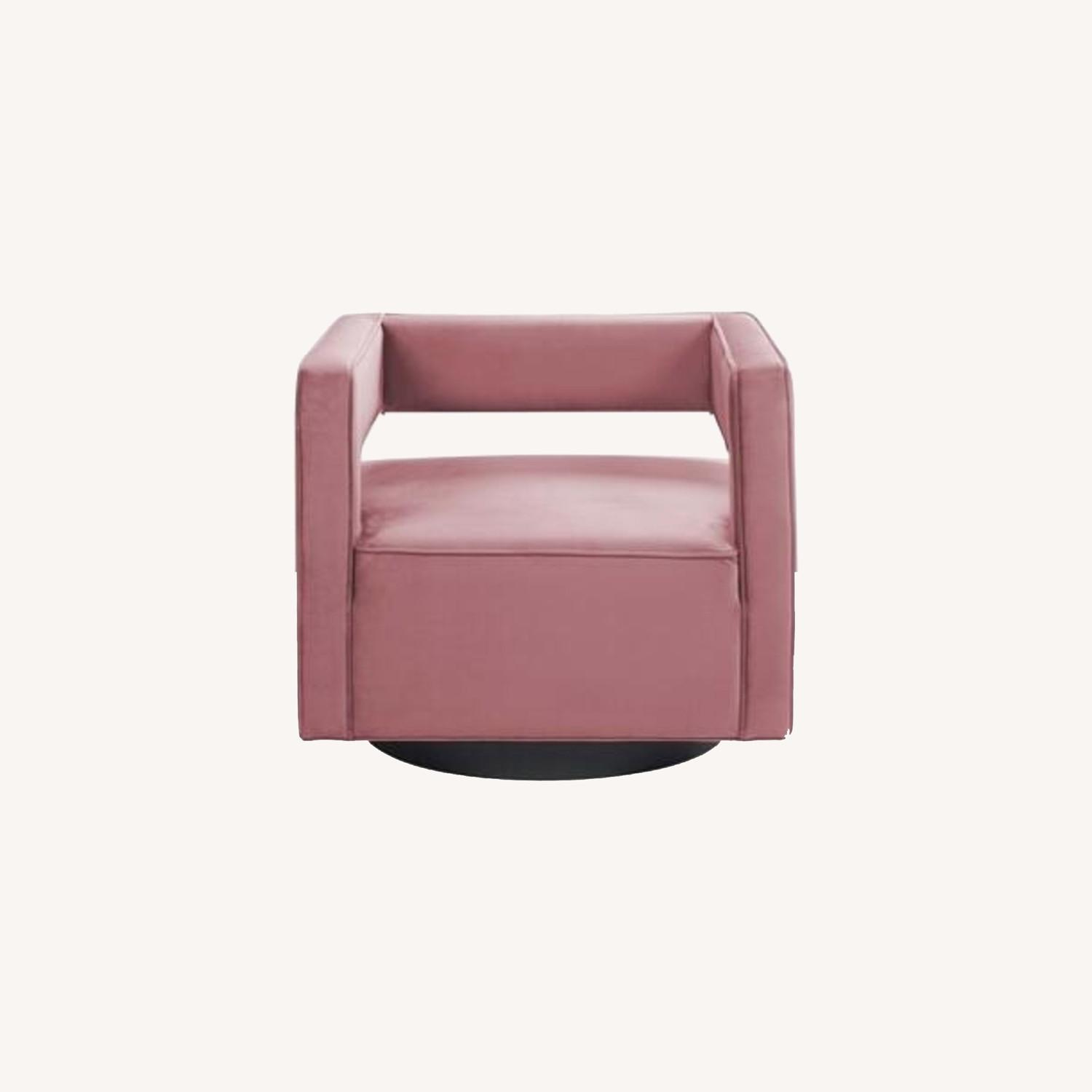 Armchair In Dusty Rose W/ Squared Cutaway Back - image-7