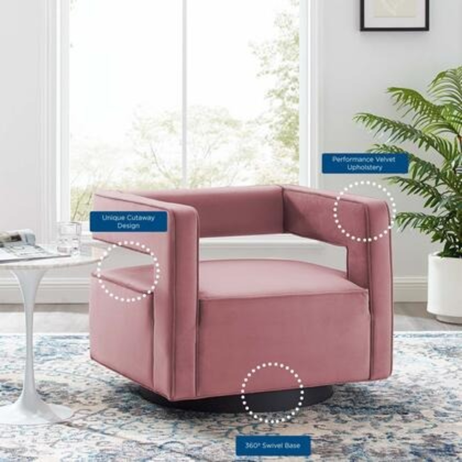 Armchair In Dusty Rose W/ Squared Cutaway Back - image-5
