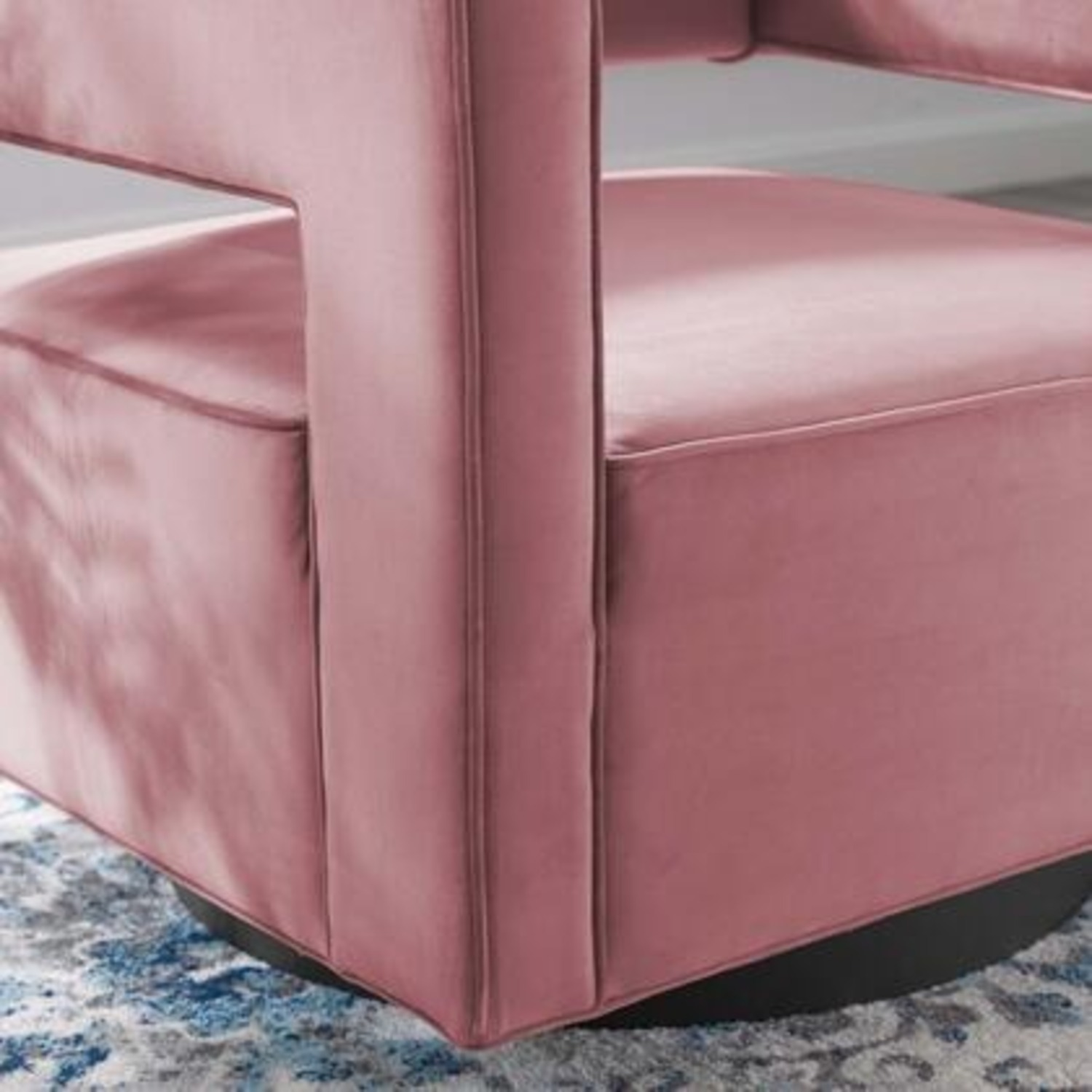 Armchair In Dusty Rose W/ Squared Cutaway Back - image-4