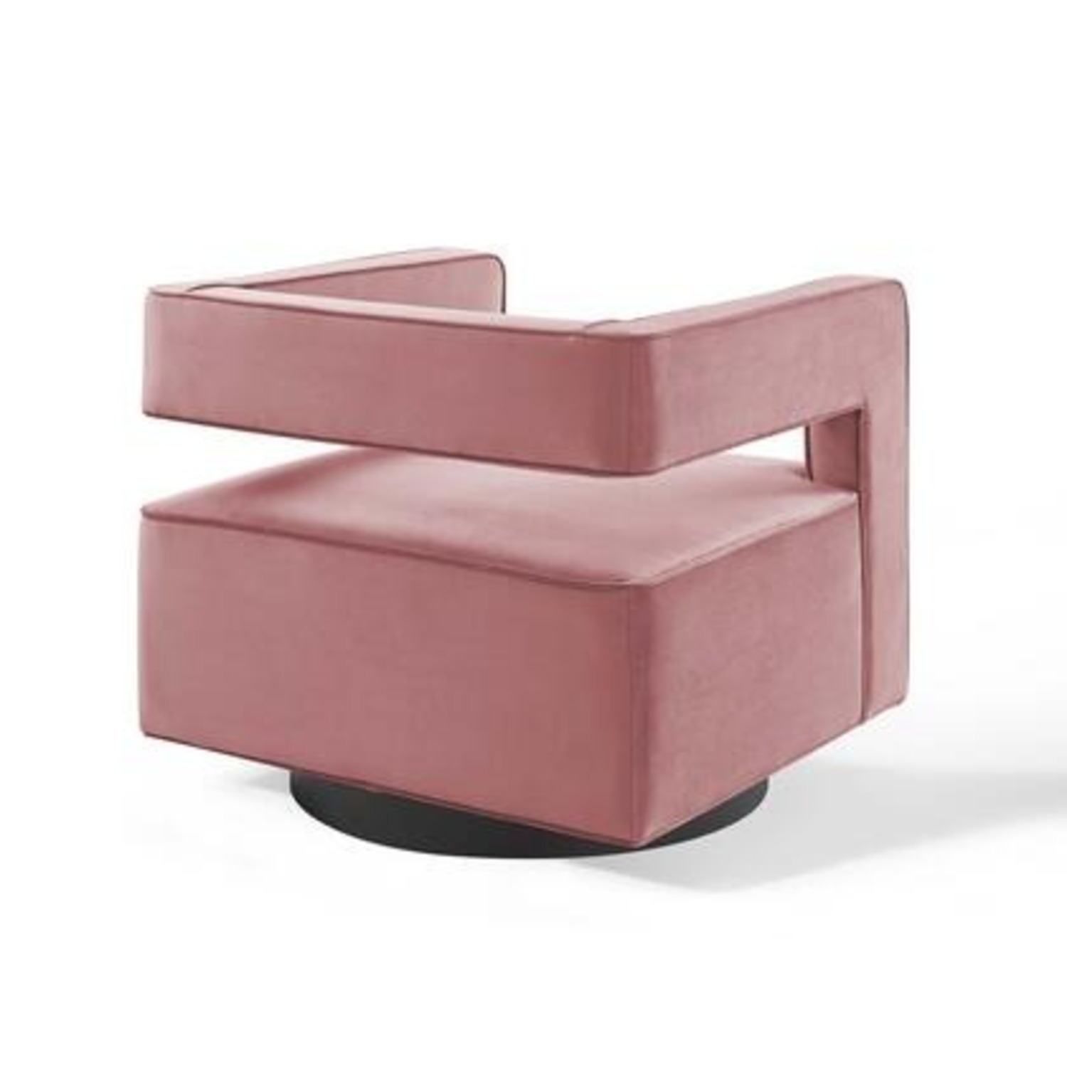 Armchair In Dusty Rose W/ Squared Cutaway Back - image-1
