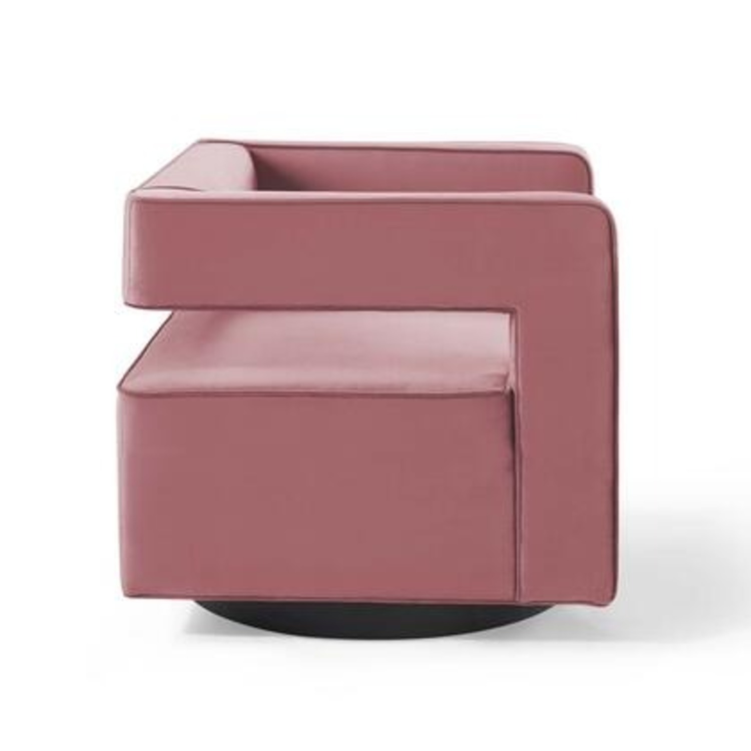 Armchair In Dusty Rose W/ Squared Cutaway Back - image-2