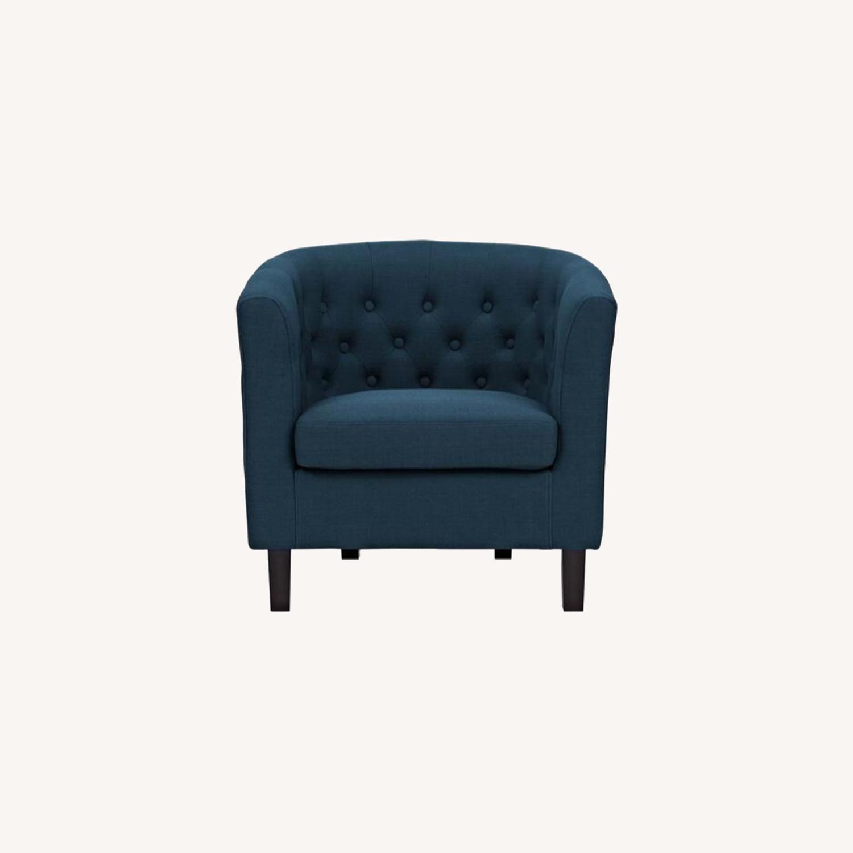 Armchair In Azure Fabric W/ Espresso Wood Legs - image-6