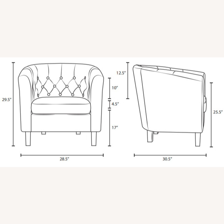 Armchair In Azure Fabric W/ Espresso Wood Legs - image-5