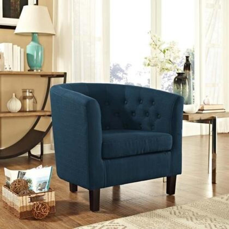 Armchair In Azure Fabric W/ Espresso Wood Legs - image-4