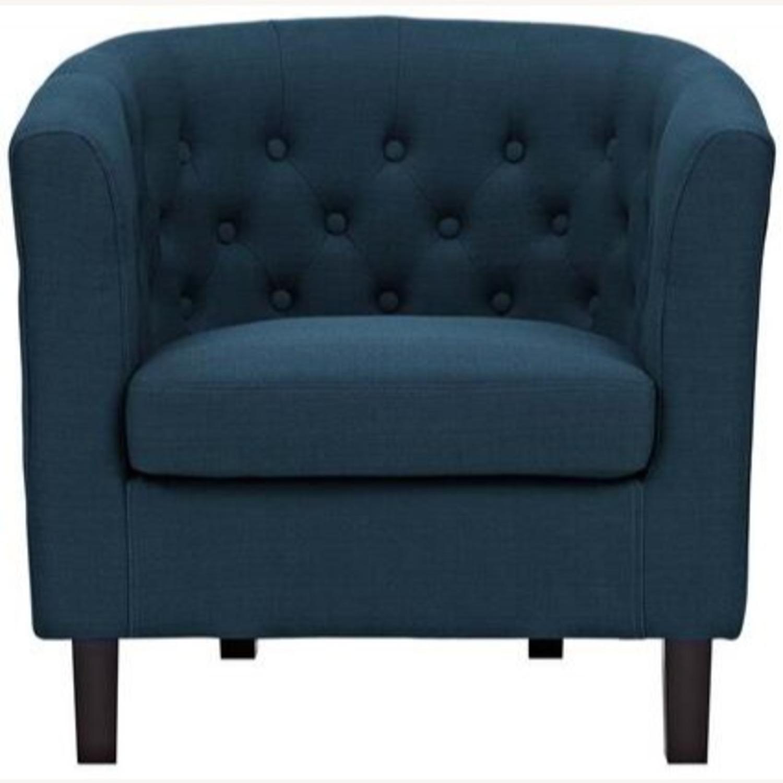 Armchair In Azure Fabric W/ Espresso Wood Legs - image-3