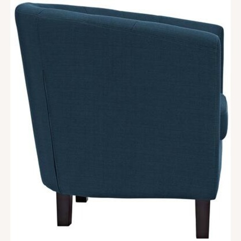 Armchair In Azure Fabric W/ Espresso Wood Legs - image-2