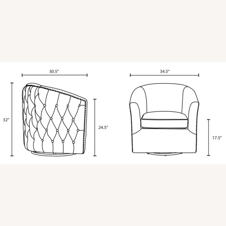 Armchair In Navy Velvet Finish W/ Swivel Design - image-5