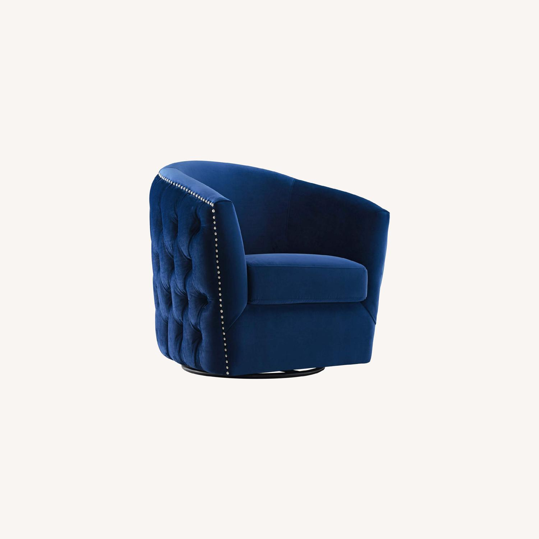 Armchair In Navy Velvet Finish W/ Swivel Design - image-6