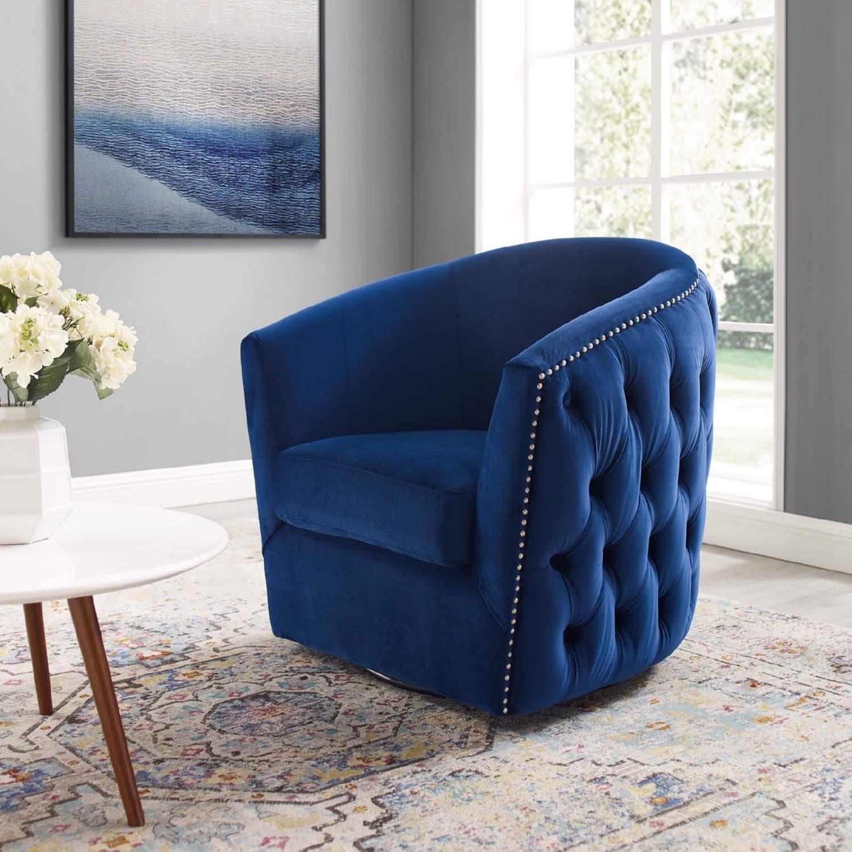 Armchair In Navy Velvet Finish W/ Swivel Design - image-4