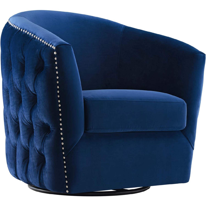 Armchair In Navy Velvet Finish W/ Swivel Design - image-0