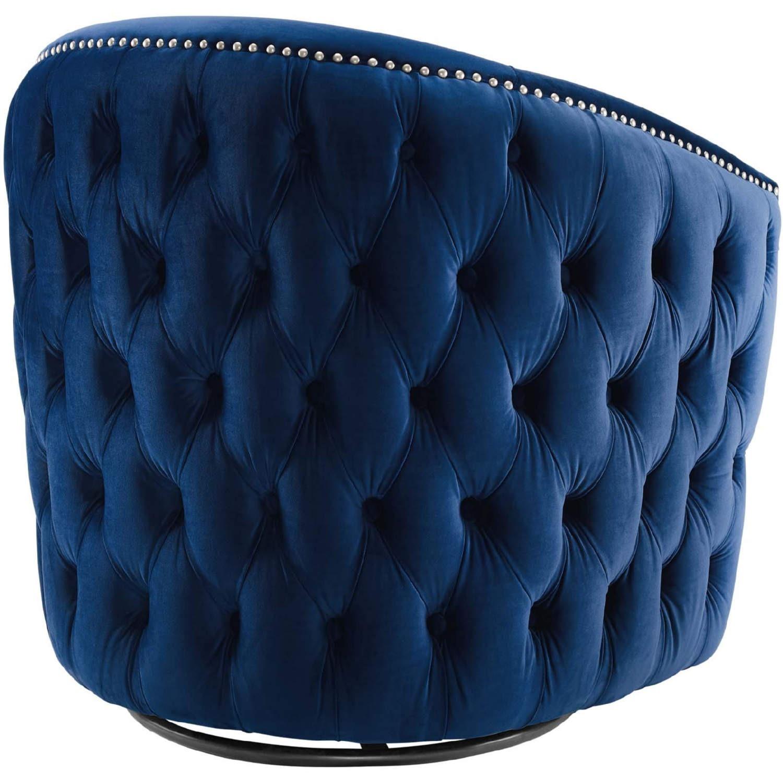 Armchair In Navy Velvet Finish W/ Swivel Design - image-1