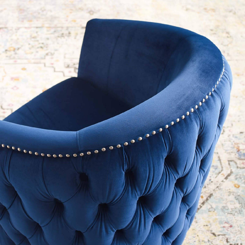 Armchair In Navy Velvet Finish W/ Swivel Design - image-3