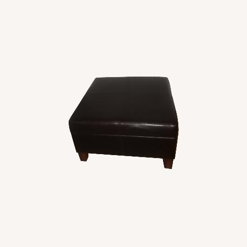 Used HomePop Faux Leather Luxury Storage Ottoman, Brown for sale on AptDeco