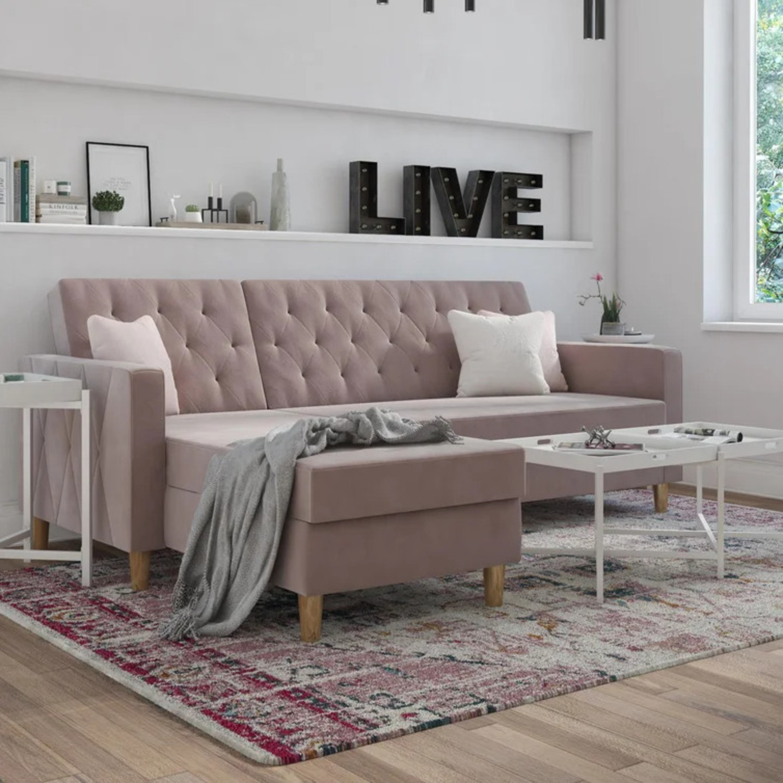 Wayfair Blush Storage/Sleeper Sofa with Chaise - image-1