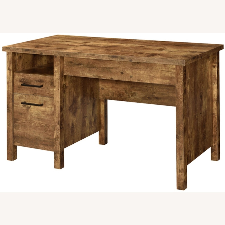 Lift Top Office Desk In Antique Nutmeg Finish - image-2