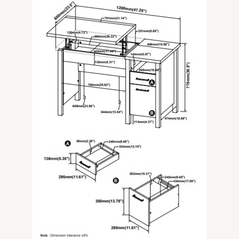 Lift Top Office Desk In Antique Nutmeg Finish - image-8