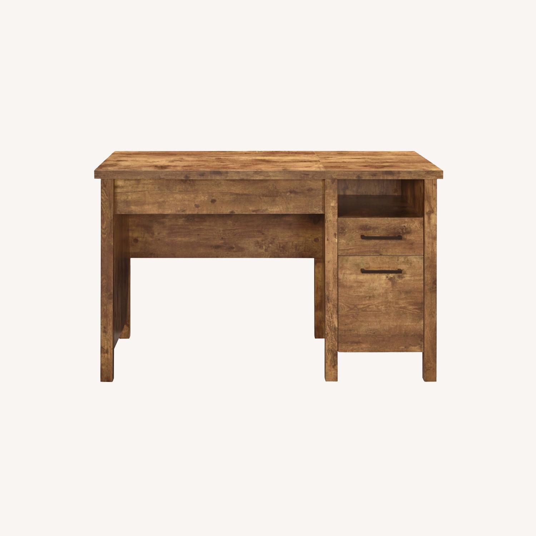 Lift Top Office Desk In Antique Nutmeg Finish - image-9