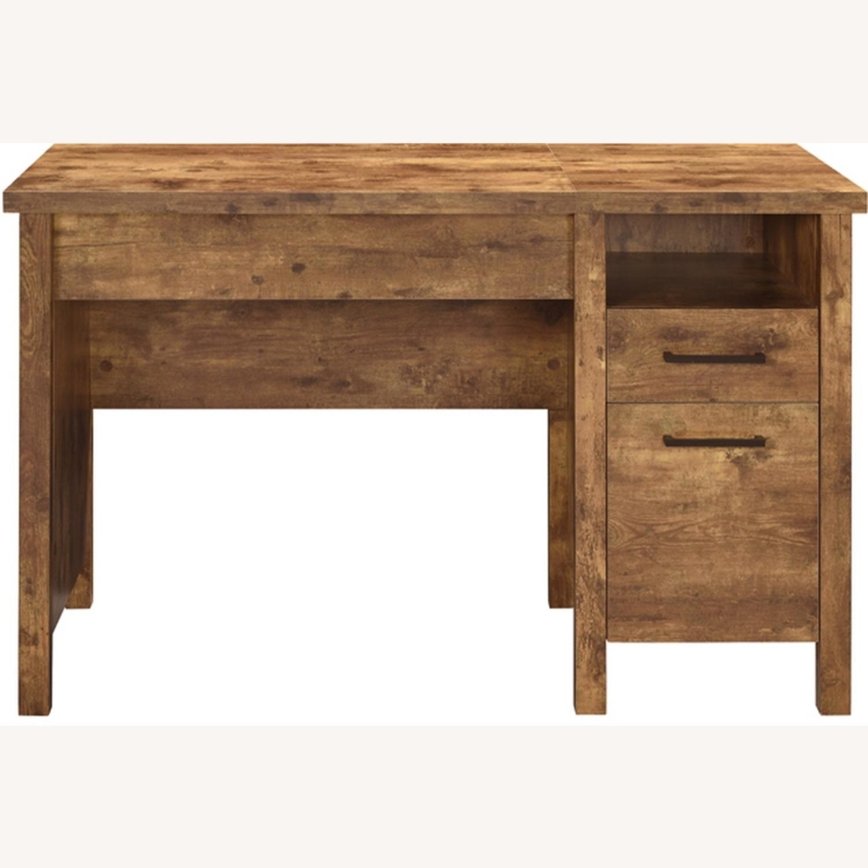 Lift Top Office Desk In Antique Nutmeg Finish - image-0