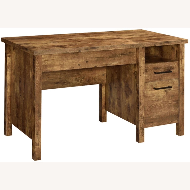 Lift Top Office Desk In Antique Nutmeg Finish - image-1