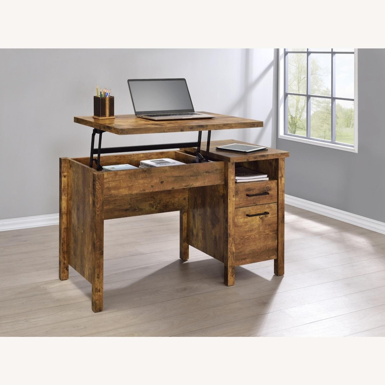 Lift Top Office Desk In Antique Nutmeg Finish - image-6