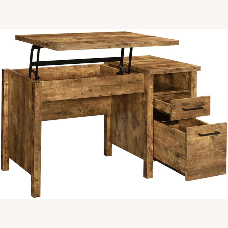Lift Top Office Desk In Antique Nutmeg Finish - image-3