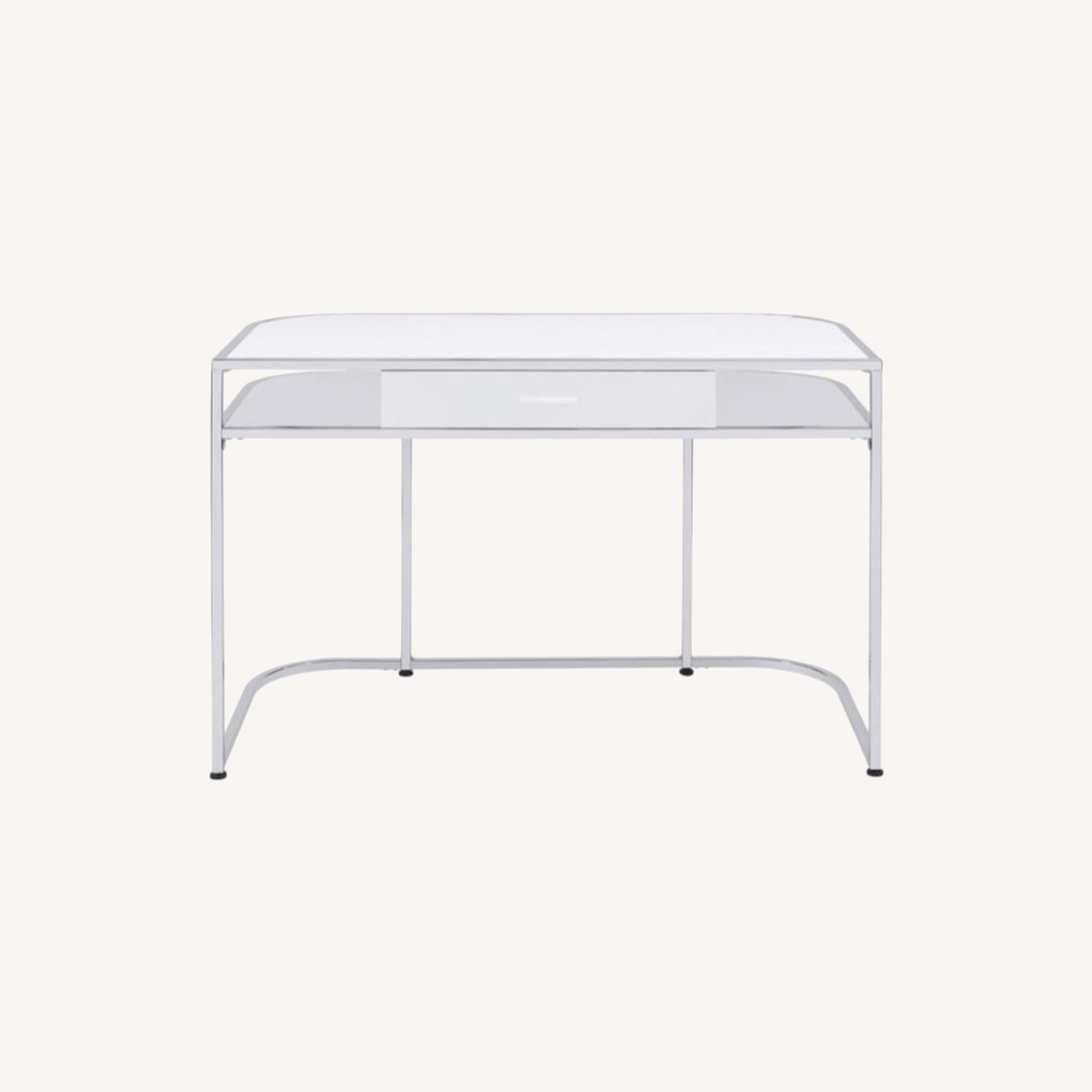 Writing Desk In White High Gloss Lacquer Finish - image-12