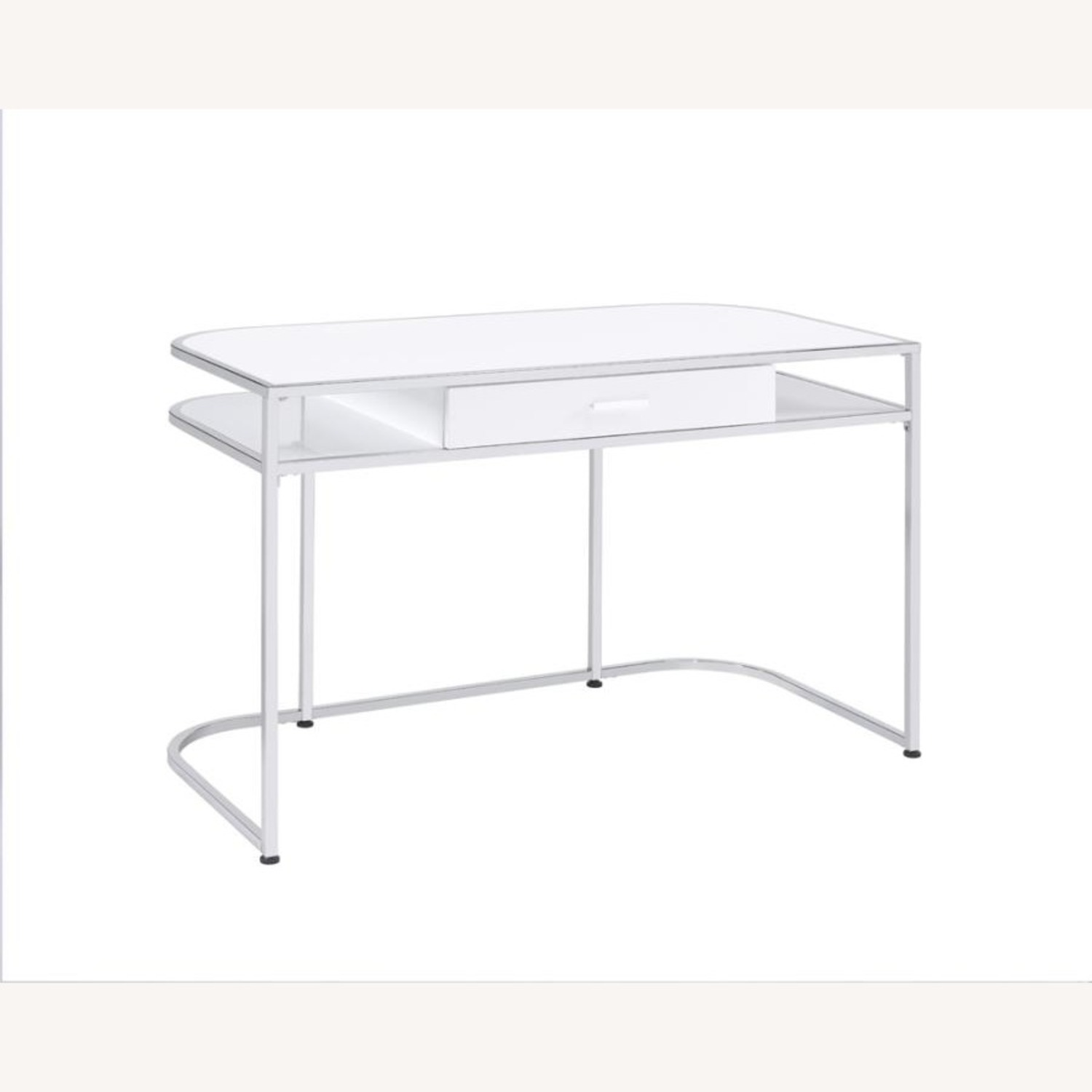 Writing Desk In White High Gloss Lacquer Finish - image-0