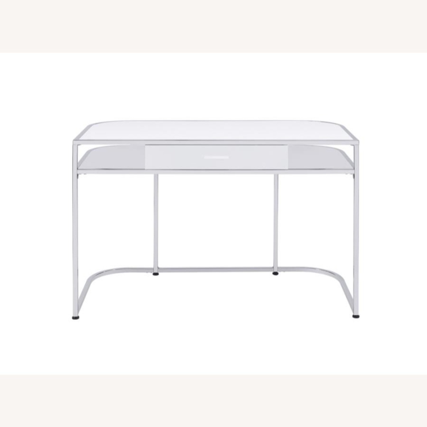 Writing Desk In White High Gloss Lacquer Finish - image-1