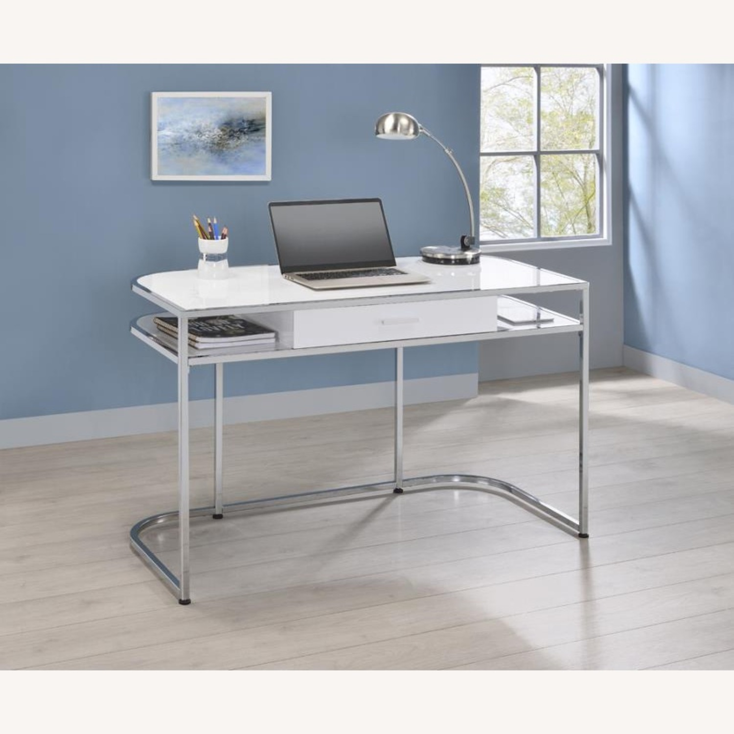 Writing Desk In White High Gloss Lacquer Finish - image-9