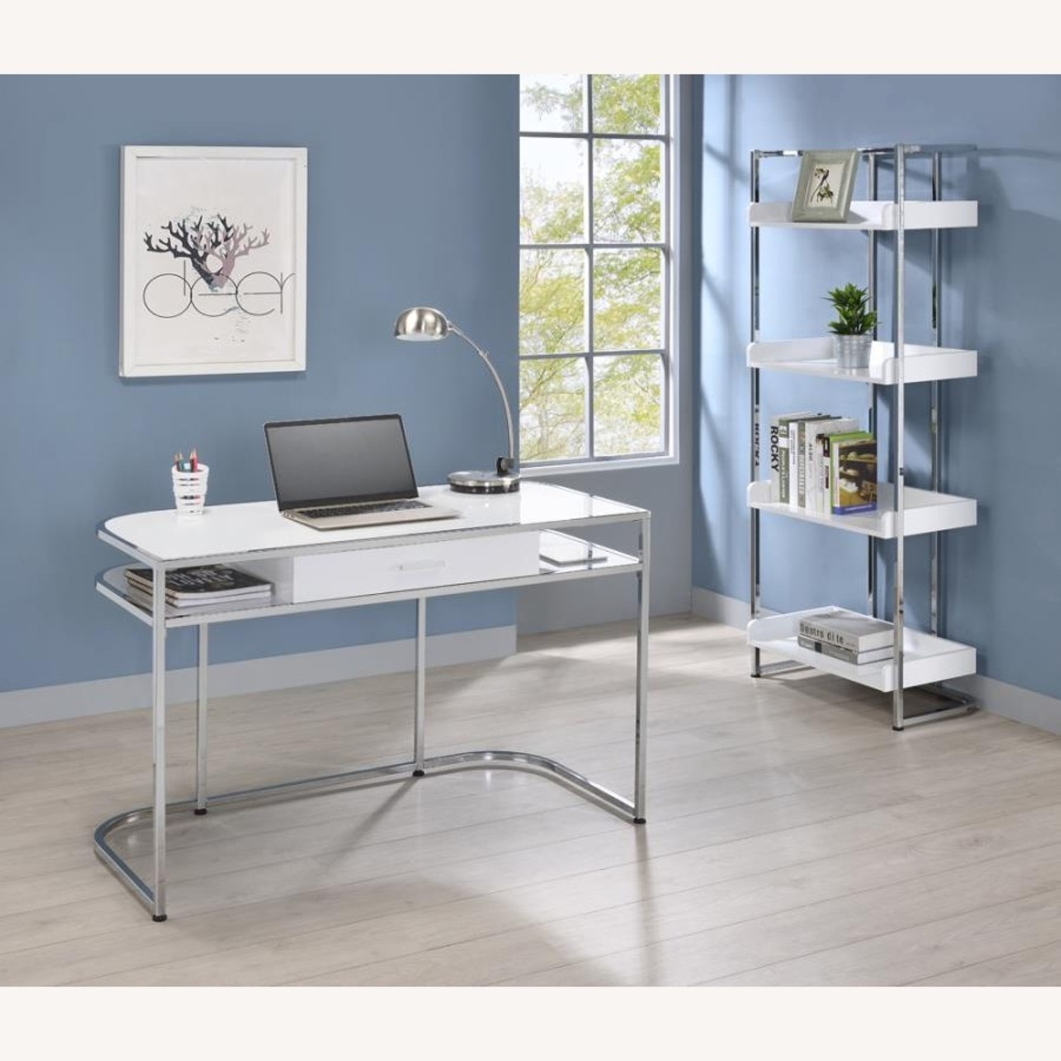 Writing Desk In White High Gloss Lacquer Finish - image-10