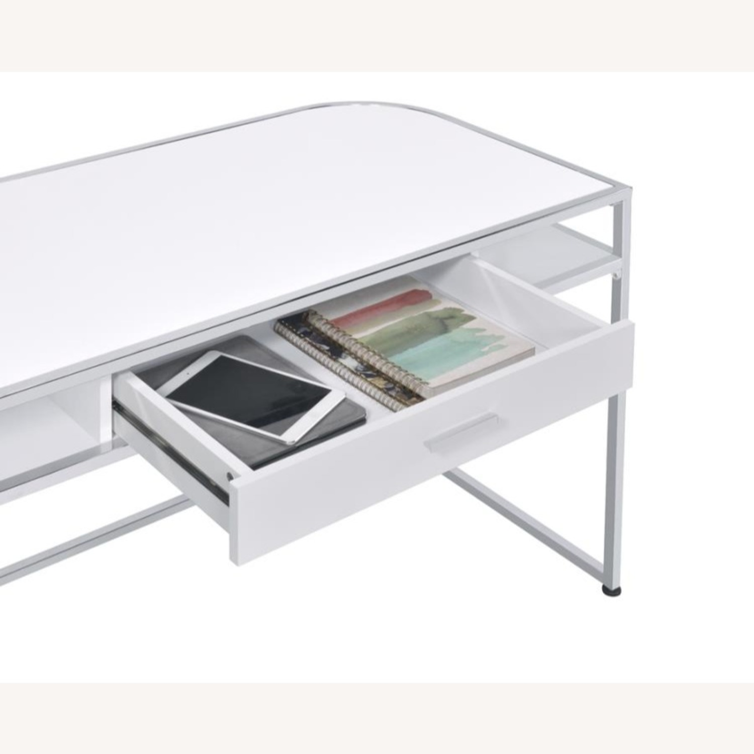 Writing Desk In White High Gloss Lacquer Finish - image-3