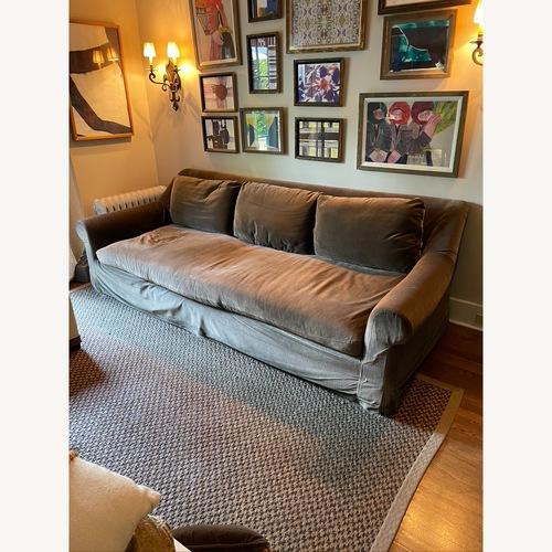 Used Restoration Hardware Mushroom Brown Velevt Sofa for sale on AptDeco