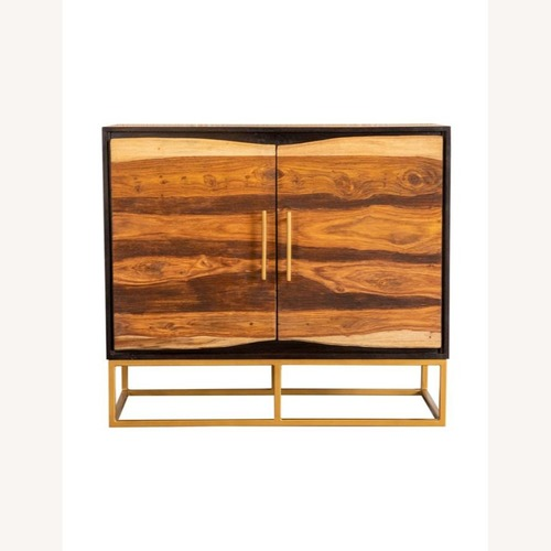 Used Accent Cabinet In Black Walnut & Gold Finish for sale on AptDeco