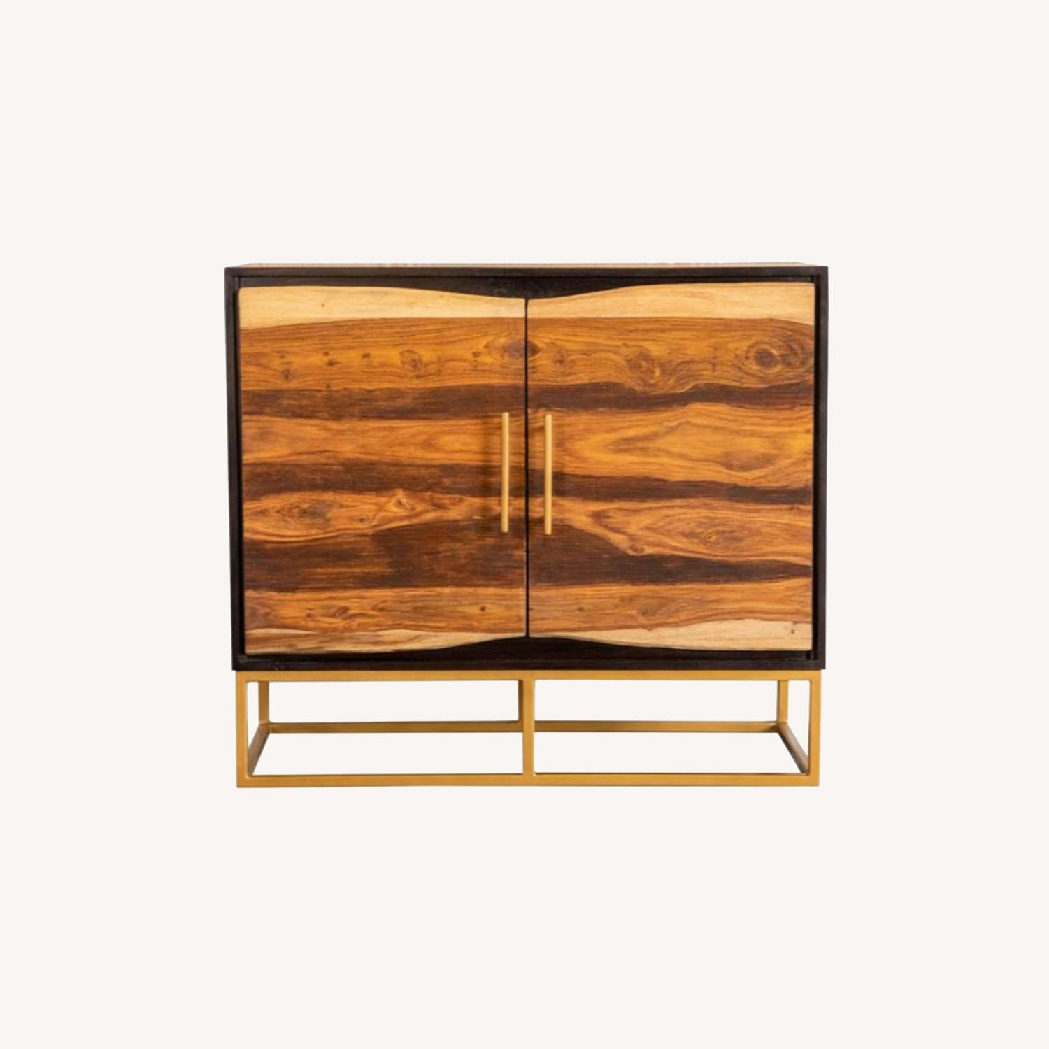 Accent Cabinet In Black Walnut & Gold Finish - image-5