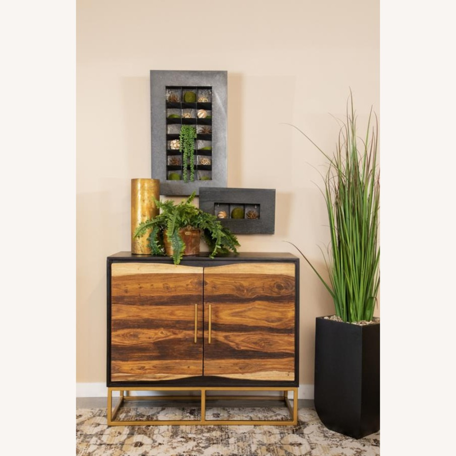 Accent Cabinet In Black Walnut & Gold Finish - image-3