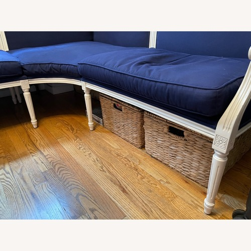 Used Ballard Designs Navy & White L-Shape Sectional Banquette for sale on AptDeco