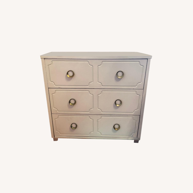 Vintage White Dresser with Brass Pulls - image-0