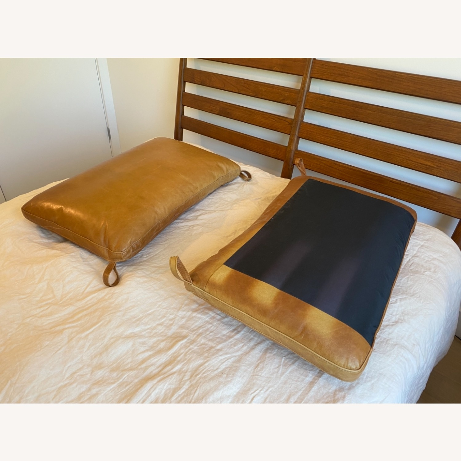 West Elm Arne Bed with Leather Cushions - image-2