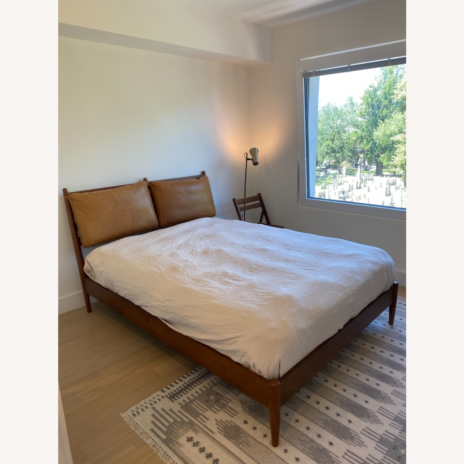 West Elm Arne Bed with Leather Cushions - image-1