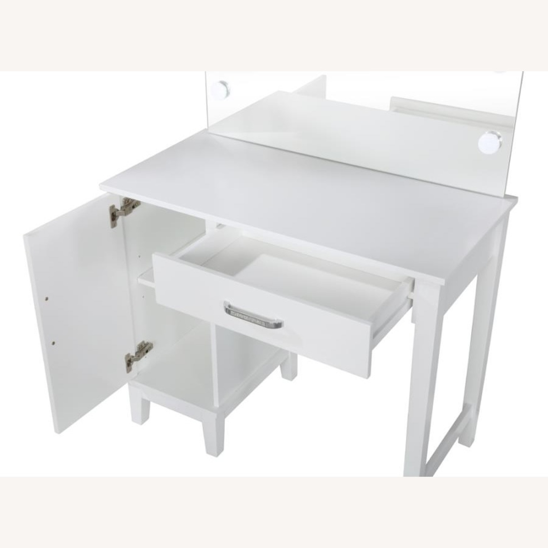 Vanity Set In White Wood & Dark Grey Upholstery - image-1