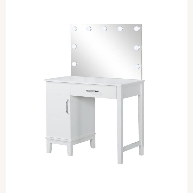 Vanity Set In White Wood & Dark Grey Upholstery - image-0